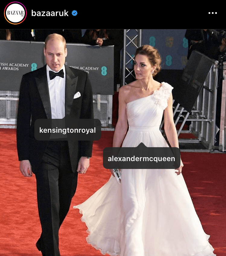Representing one of Britain's most acclaimed designers, Kate wore this Alexander McQueen dress for this year's BAFTAs - 78,064 likes worth $32,787.30