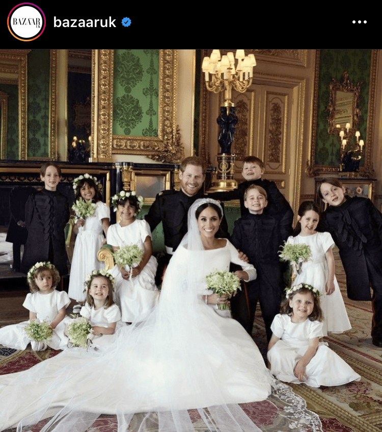 One of Harper's Bazaar's most-liked images was this throwback to Meghan and Harry's wedding, where Meghan wore a Givenchy wedding gown. 25,434 likes, $10,682.28 in value