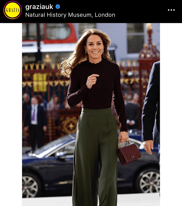 This image from GraziaUK shows Kate in an outfit combining high street brands like Jigsaw with classic designers like Chanel. The picture gained 6,456 likes for a value of $2,711.52