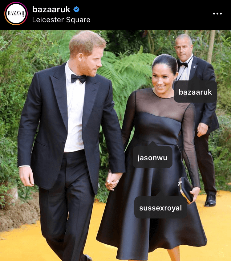 Meghan wore this Jason Wu dress to the premier of the Lion King and collected 157,689 likes across 8 pictures, worth $66,229.38 overall