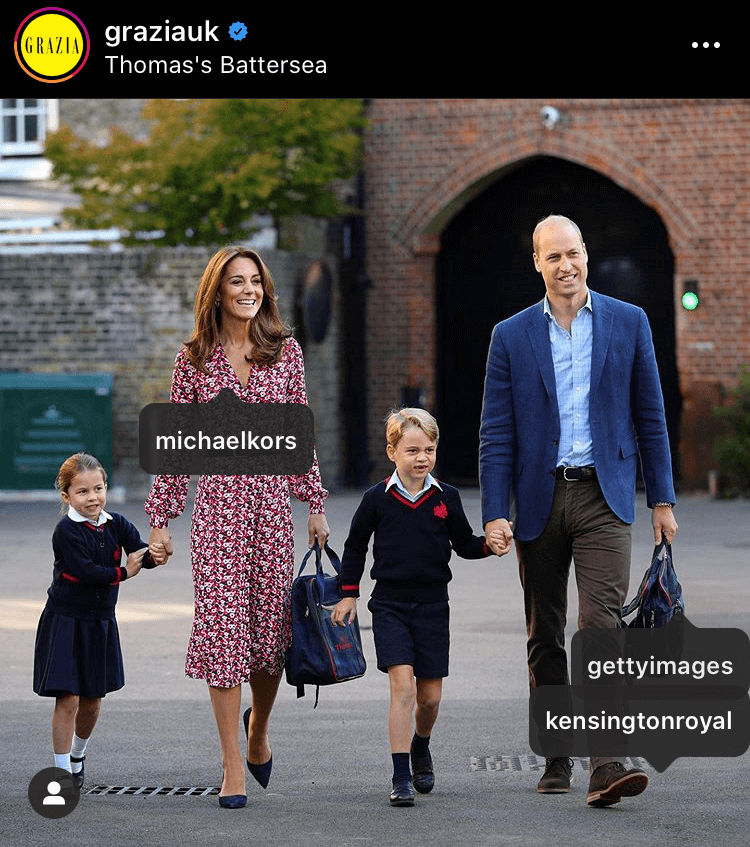 A landmark moment for the Cambridges as Princess Charlotte attended her first day of school, the Michael Kors dress Kate wore for the occasion was liked 180,299 times for a value of $75,725.58