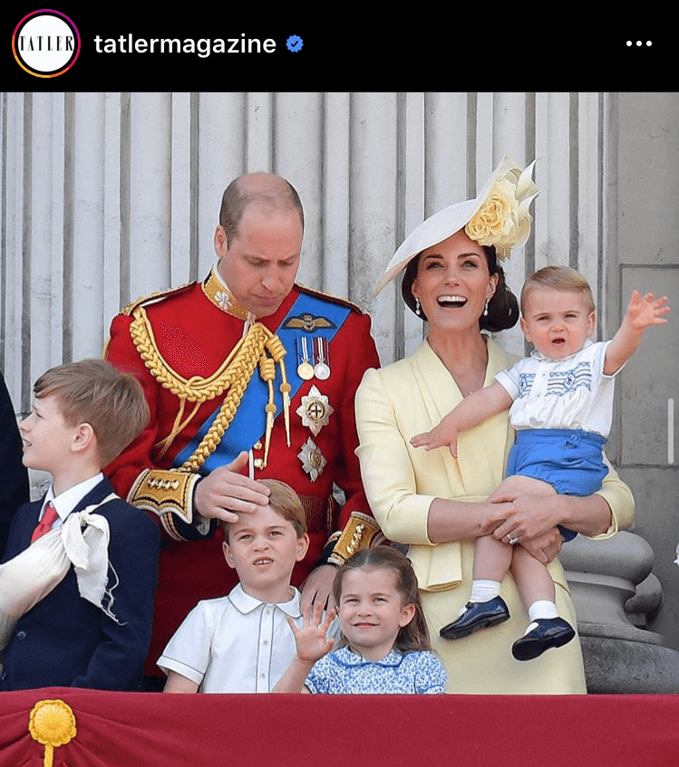 Tatler's favourite picture was the Cambridge family at the Trooping of the Colour, where Kate wore Alexander McQueen. This post reached 6,142 likes and is worth $2,579.64