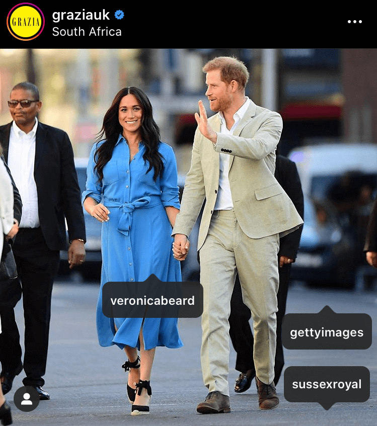 A staple favourite of Meghan's, this Veronica Beard dress was worn by the duchess multiple times through the year, appearing five times in four different months. The pictures collected 103,744 likes worth $43,572.48